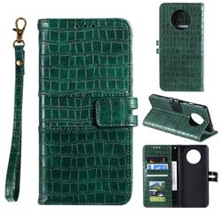 Luxury Crocodile Magnetic Leather Wallet Phone Case for OnePlus 7T - Green
