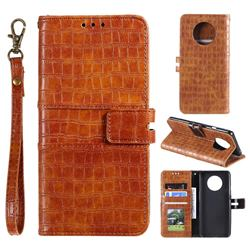 Luxury Crocodile Magnetic Leather Wallet Phone Case for OnePlus 7T - Brown