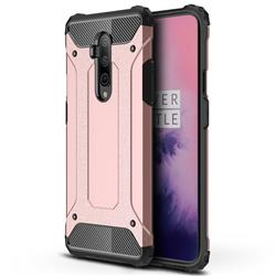 King Kong Armor Premium Shockproof Dual Layer Rugged Hard Cover for OnePlus 7T Pro - Rose Gold