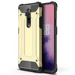 King Kong Armor Premium Shockproof Dual Layer Rugged Hard Cover for OnePlus 7T Pro - Champagne Gold