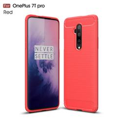 Luxury Carbon Fiber Brushed Wire Drawing Silicone TPU Back Cover for OnePlus 7T Pro - Red