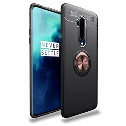 Auto Focus Invisible Ring Holder Soft Phone Case for OnePlus 7T Pro - Black Gold