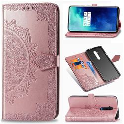 Embossing Imprint Mandala Flower Leather Wallet Case for OnePlus 7T Pro - Rose Gold