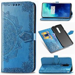 Embossing Imprint Mandala Flower Leather Wallet Case for OnePlus 7T Pro - Blue
