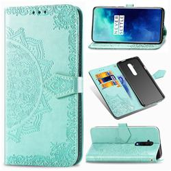 Embossing Imprint Mandala Flower Leather Wallet Case for OnePlus 7T Pro - Green