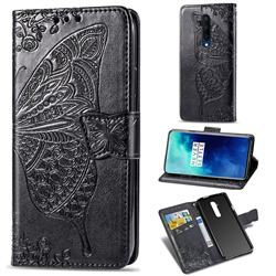 Embossing Mandala Flower Butterfly Leather Wallet Case for OnePlus 7T Pro - Black