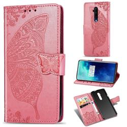 Embossing Mandala Flower Butterfly Leather Wallet Case for OnePlus 7T Pro - Pink