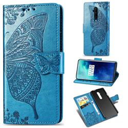 Embossing Mandala Flower Butterfly Leather Wallet Case for OnePlus 7T Pro - Blue