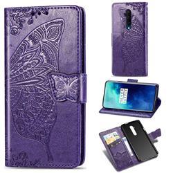 Embossing Mandala Flower Butterfly Leather Wallet Case for OnePlus 7T Pro - Dark Purple