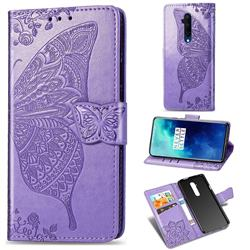 Embossing Mandala Flower Butterfly Leather Wallet Case for OnePlus 7T Pro - Light Purple