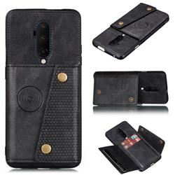 Retro Multifunction Card Slots Stand Leather Coated Phone Back Cover for OnePlus 7T Pro - Black