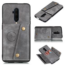 Retro Multifunction Card Slots Stand Leather Coated Phone Back Cover for OnePlus 7T Pro - Gray