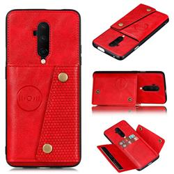 Retro Multifunction Card Slots Stand Leather Coated Phone Back Cover for OnePlus 7T Pro - Red