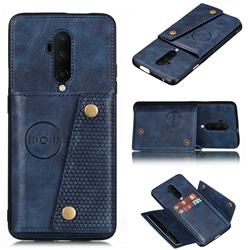 Retro Multifunction Card Slots Stand Leather Coated Phone Back Cover for OnePlus 7T Pro - Blue