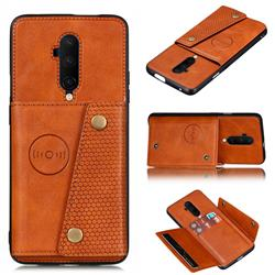 Retro Multifunction Card Slots Stand Leather Coated Phone Back Cover for OnePlus 7T Pro - Brown