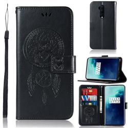 Intricate Embossing Owl Campanula Leather Wallet Case for OnePlus 7T Pro - Black