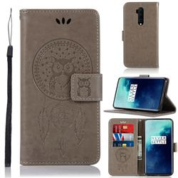 Intricate Embossing Owl Campanula Leather Wallet Case for OnePlus 7T Pro - Grey