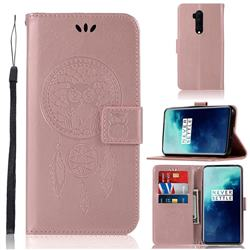 Intricate Embossing Owl Campanula Leather Wallet Case for OnePlus 7T Pro - Rose Gold