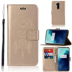 Intricate Embossing Owl Campanula Leather Wallet Case for OnePlus 7T Pro - Champagne