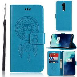 Intricate Embossing Owl Campanula Leather Wallet Case for OnePlus 7T Pro - Blue