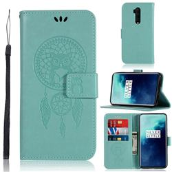 Intricate Embossing Owl Campanula Leather Wallet Case for OnePlus 7T Pro - Green
