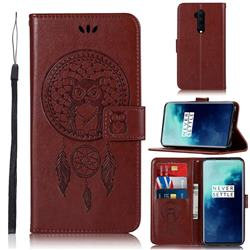 Intricate Embossing Owl Campanula Leather Wallet Case for OnePlus 7T Pro - Brown