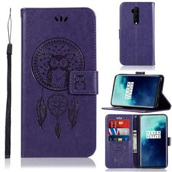 Intricate Embossing Owl Campanula Leather Wallet Case for OnePlus 7T Pro - Purple