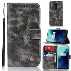 Luxury Retro Leather Wallet Case for OnePlus 7T Pro - Gray