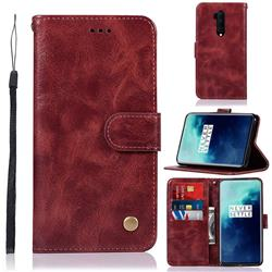 Luxury Retro Leather Wallet Case for OnePlus 7T Pro - Wine Red