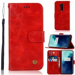 Luxury Retro Leather Wallet Case for OnePlus 7T Pro - Red