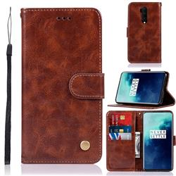 Luxury Retro Leather Wallet Case for OnePlus 7T Pro - Brown