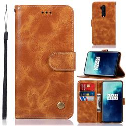 Luxury Retro Leather Wallet Case for OnePlus 7T Pro - Golden