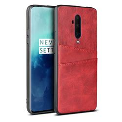 Simple Calf Card Slots Mobile Phone Back Cover for OnePlus 7T Pro - Red