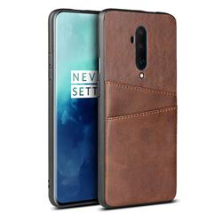 Simple Calf Card Slots Mobile Phone Back Cover for OnePlus 7T Pro - Coffee
