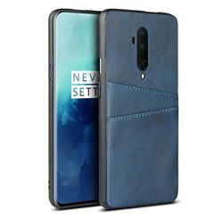 Simple Calf Card Slots Mobile Phone Back Cover for OnePlus 7T Pro - Blue