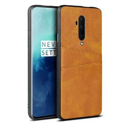 Simple Calf Card Slots Mobile Phone Back Cover for OnePlus 7T Pro - Yellow