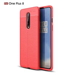 Luxury Auto Focus Litchi Texture Silicone TPU Back Cover for OnePlus 8 - Red