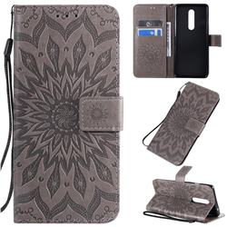 Embossing Sunflower Leather Wallet Case for OnePlus 8 - Gray