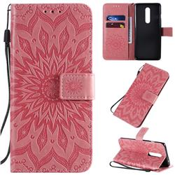 Embossing Sunflower Leather Wallet Case for OnePlus 8 - Pink