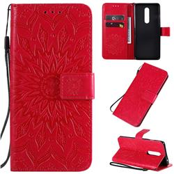 Embossing Sunflower Leather Wallet Case for OnePlus 8 - Red