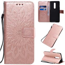 Embossing Sunflower Leather Wallet Case for OnePlus 8 - Rose Gold