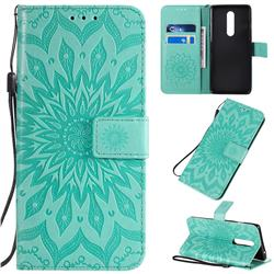 Embossing Sunflower Leather Wallet Case for OnePlus 8 - Green