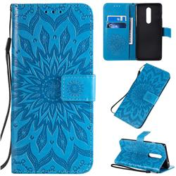 Embossing Sunflower Leather Wallet Case for OnePlus 8 - Blue