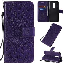 Embossing Sunflower Leather Wallet Case for OnePlus 8 - Purple