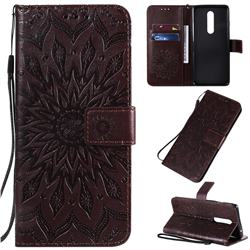 Embossing Sunflower Leather Wallet Case for OnePlus 8 - Brown