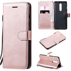 Retro Greek Classic Smooth PU Leather Wallet Phone Case for OnePlus 8 - Rose Gold