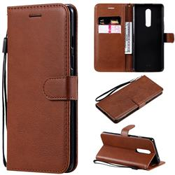 Retro Greek Classic Smooth PU Leather Wallet Phone Case for OnePlus 8 - Brown