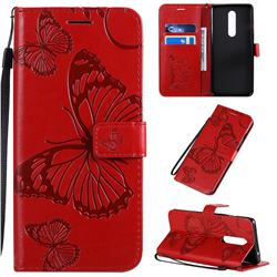 Embossing 3D Butterfly Leather Wallet Case for OnePlus 8 - Red