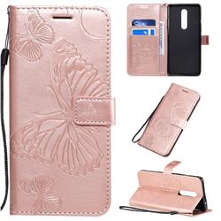 Embossing 3D Butterfly Leather Wallet Case for OnePlus 8 - Rose Gold
