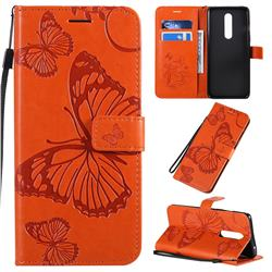 Embossing 3D Butterfly Leather Wallet Case for OnePlus 8 - Orange
